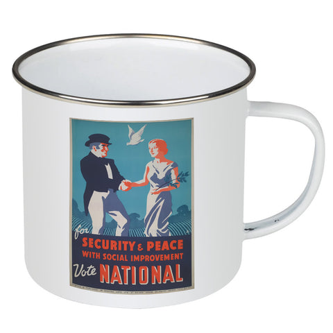 For security and peace with social improvement, Vote National Enamel Mug