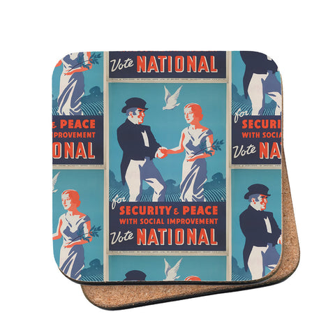 For security and peace with social improvement, Vote National Cork Coaster