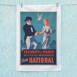 For security and peace with social improvement, Vote National Tea Towel (Lifestyle)