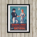 For security and peace with social improvement, Vote National Black Framed Print (Lifestyle)