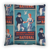 For security and peace with social improvement, Vote National Feather Cushion