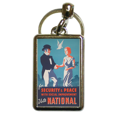 For security and peace with social improvement, Vote National Metal Keyring