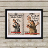 1931: This was the famous election poster Black Framed Print (Lifestyle)