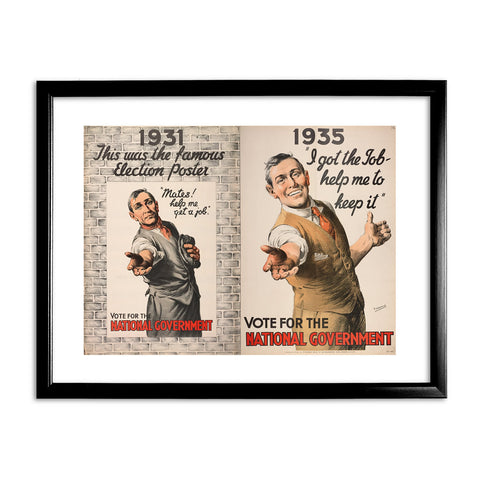 1931: This was the famous election poster Black Framed Print