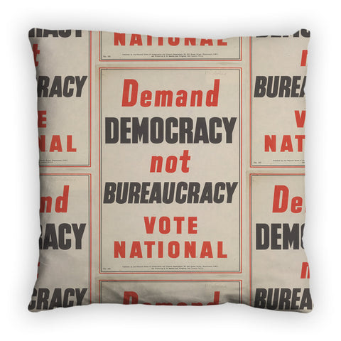 Demand democracy not bureaucracy Feather Cushion