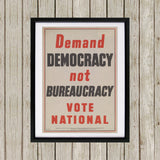 Demand democracy not bureaucracy Black Framed Print (Lifestyle)