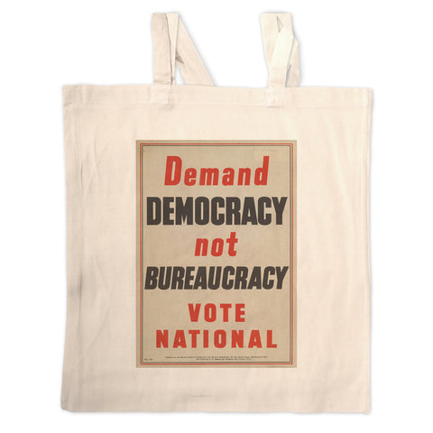 Demand democracy not bureaucracy Long Handled Tote Bag