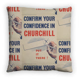 Confirm your confidence in Churchill! Vote National Feather Cushion