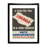 A vote for the Liberals is a vote wasted Black Framed Print