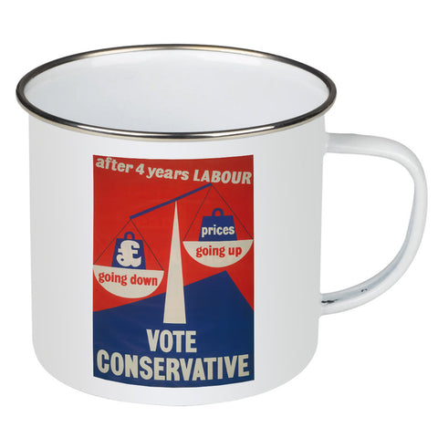 After four years of Labour pound down, prices up Enamel Mug