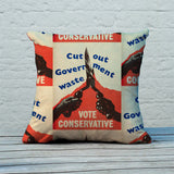 Cut out government waste. Vote Conservative Feather Cushion (Lifestyle)
