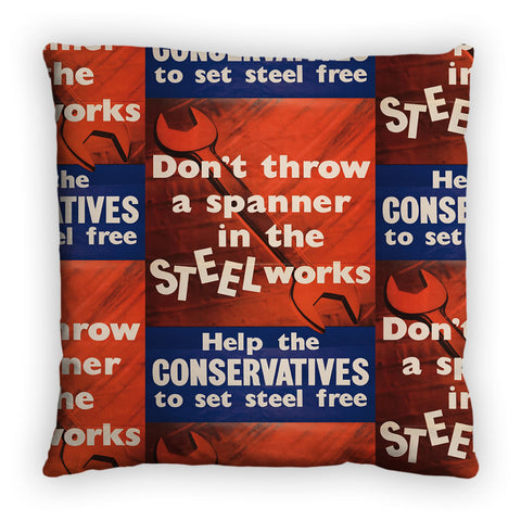 Don't throw a spanner in the steel works Feather Cushion