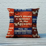 Don't throw a spanner in the steel works Feather Cushion (Lifestyle)