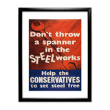 Don't throw a spanner in the steel works Black Framed Print