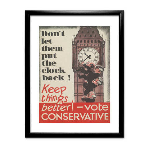 Don't let them put the clock back! Black Framed Print