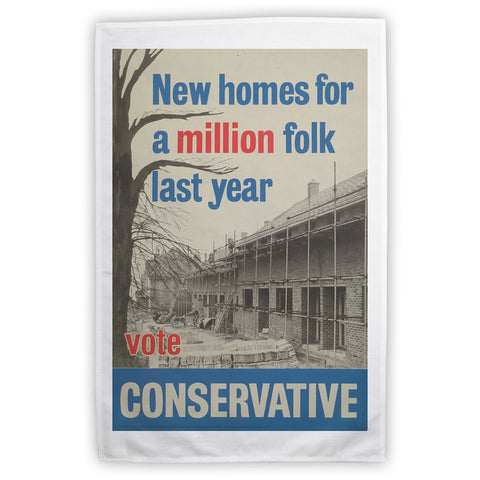 New homes a million folk last year Tea Towel