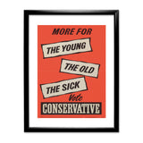 More for the young, the old, the sick Black Framed Print