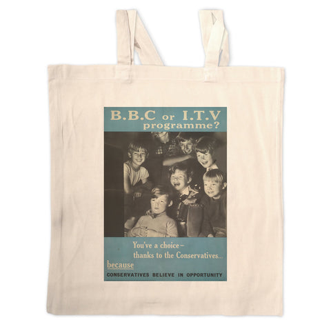 Press advertisements. BBC or ITV programme? Long Handled Tote Bag