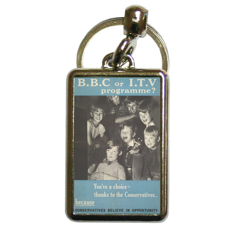 Press advertisements. BBC or ITV programme? Metal Keyring