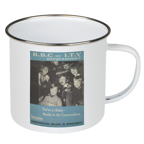 Press advertisements. BBC or ITV programme? Enamel Mug