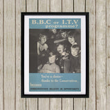Press advertisements. BBC or ITV programme? Black Framed Print (Lifestyle)