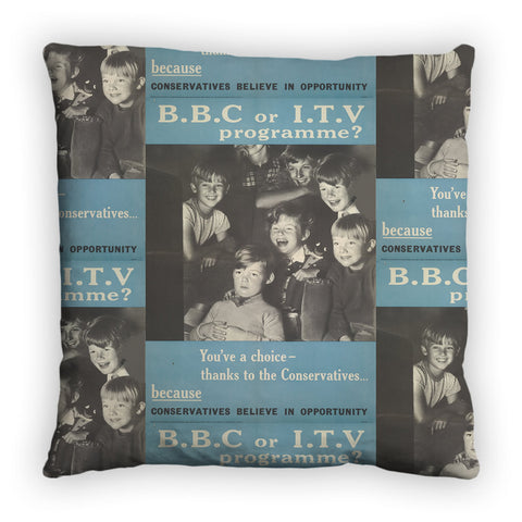 Press advertisements. BBC or ITV programme? Feather Cushion