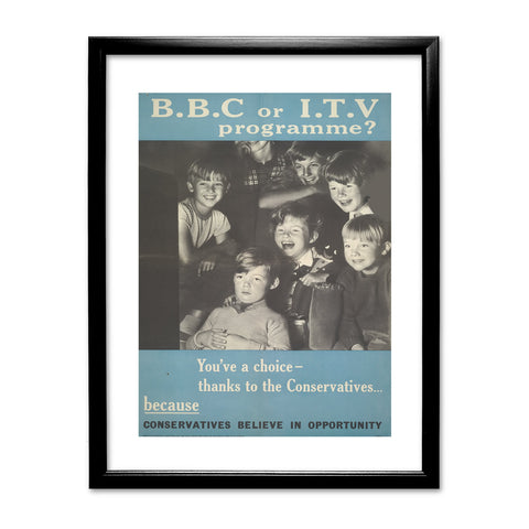 Press advertisements. BBC or ITV programme? Black Framed Print