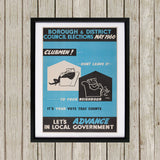 Borough and district council elections Black Framed Print (Lifestyle)