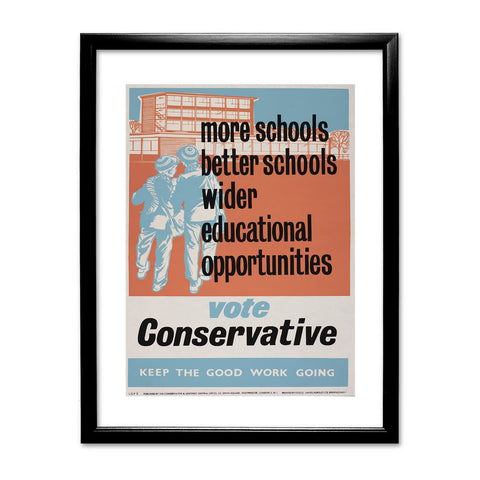 More schools, better schools, wider educational opportunities Black Framed Print
