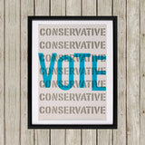 Vote Conservative Black Framed Print (Lifestyle)