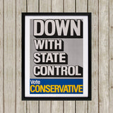 Down with state control. Black Framed Print (Lifestyle)