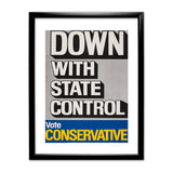 Down with state control. Black Framed Print