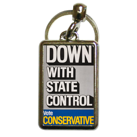 Down with state control. Metal Keyring