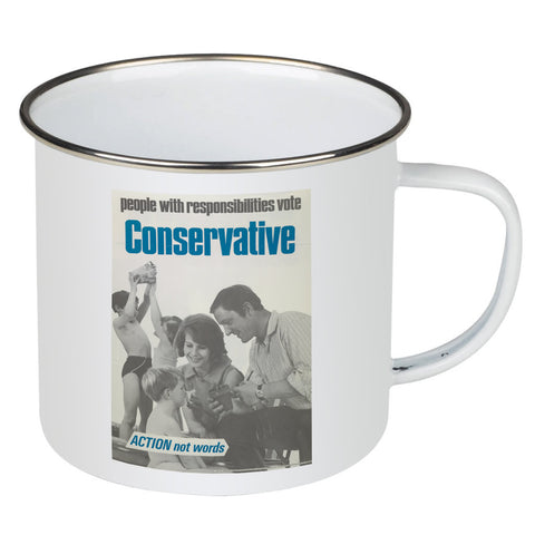People with responsibilities vote Conservative Enamel Mug