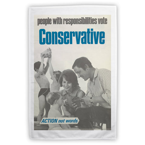 People with responsibilities vote Conservative Tea Towel