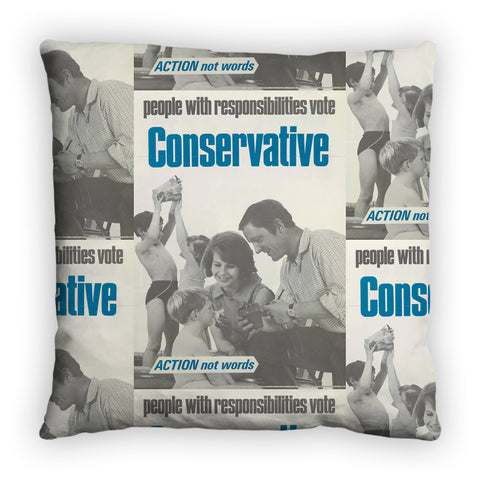 People with responsibilities vote Conservative Feather Cushion