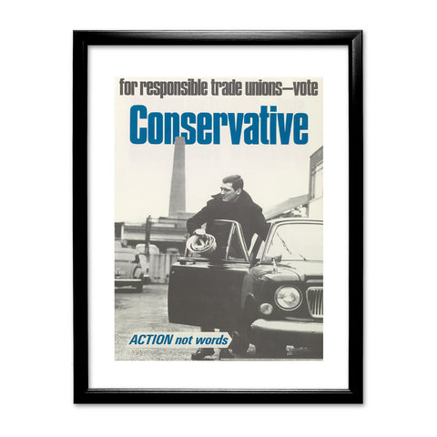 For responsible Trade Unions Black Framed Print
