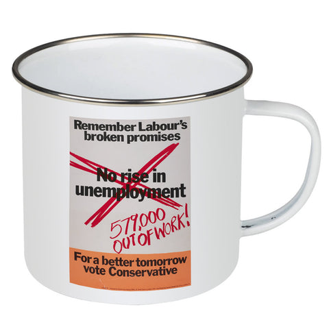 No rise in unemploymentƒ Enamel Mug