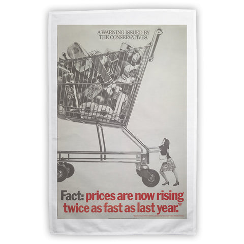 A warning is issued by the Conservatives. Giant Trolley Tea Towel