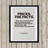 Prices. The facts. Since the war... Black Framed Print (Lifestyle)