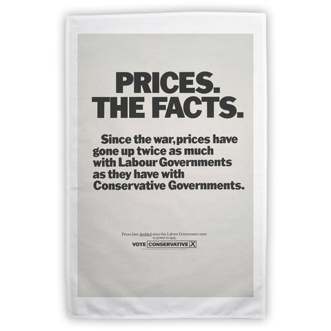 Prices. The facts. Since the war... Tea Towel