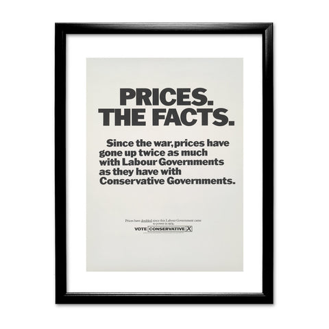 Prices. The facts. Since the war... Black Framed Print