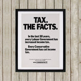 Tax. The facts. In the last 30 years.. Black Framed Print (Lifestyle)