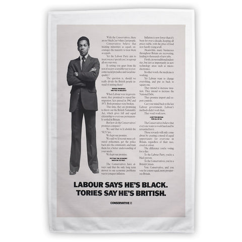 Labour says he's black Tories say he's British Tea Towel