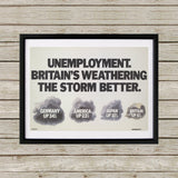 Unemployment Black Framed Print (Lifestyle)