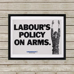 Labour's policy on arms Black Framed Print (Lifestyle)