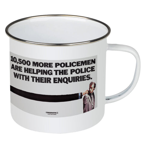 10,500 more policemen are helping the police with their enquiries Enamel Mug