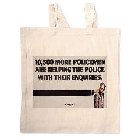 10,500 more policemen are helping the police with their enquiries Long Handled Tote Bag