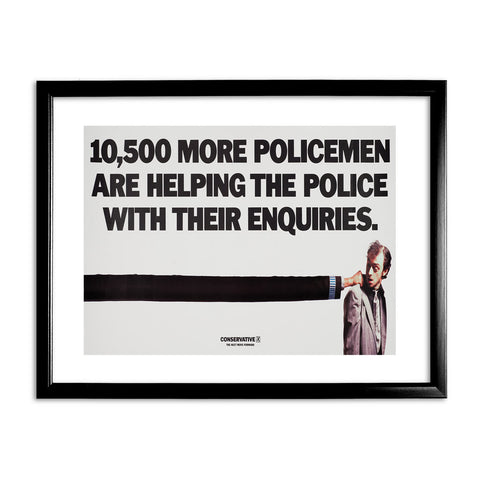 10,500 more policemen are helping the police with their enquiries Black Framed Print
