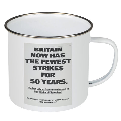 Britain now has the fewest strikes for 50 years Enamel Mug